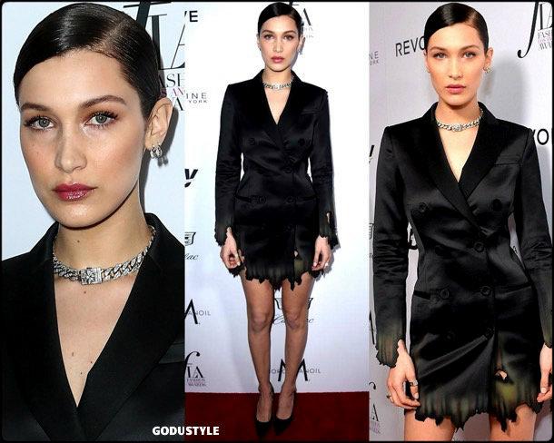 bella-hadid-tuxedo-dress-2019-party-trend-look-style-shopping-godustyle